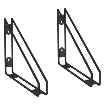 8.58 in. Black Wire Frame Decorative Shelf Bracket for Wood Shelving (2-Pack)