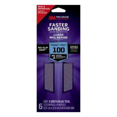 Pro Grade Precision 3-2/3 in. x 9 in. Faster Sanding Sheets 100 Grit Medium (6-Pack)