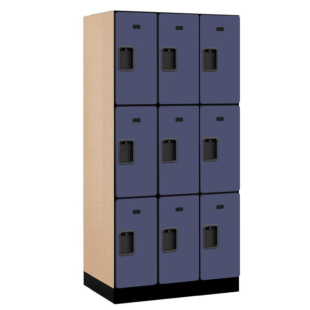 Salsbury Industries 33000 Series 36 in. W x 76 in. H x 21 in. D 3-Tier Designer Wood Locker in Blue
