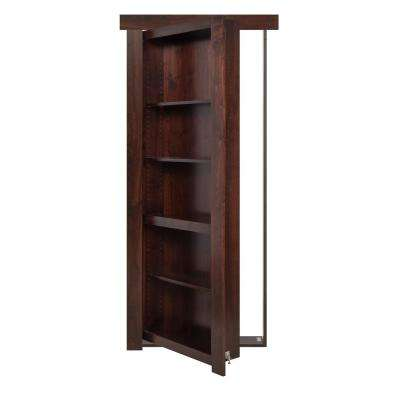 30 in. x 80 in. Flush Mount Assembled Alder Dark Stained Left-Hand Inswing Solid Core Interior Bookcase Door