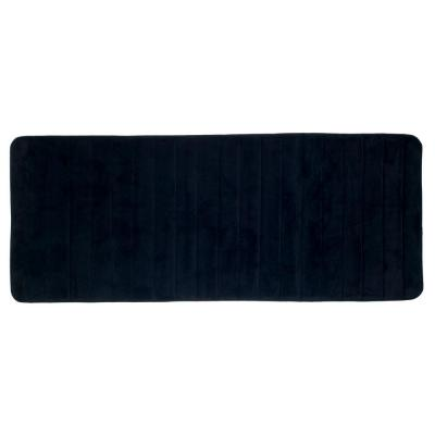 Black 24.25 in. x 60 in. Memory Foam Striped Extra Long Bath Mat