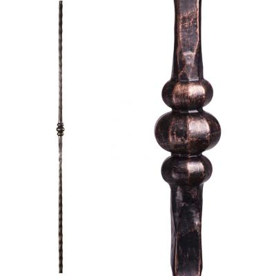 Tuscan Square Hammered 44 in. x 0.5625 in. Oil Rubbed Bronze Single Knuckle Solid Wrought Iron Baluster
