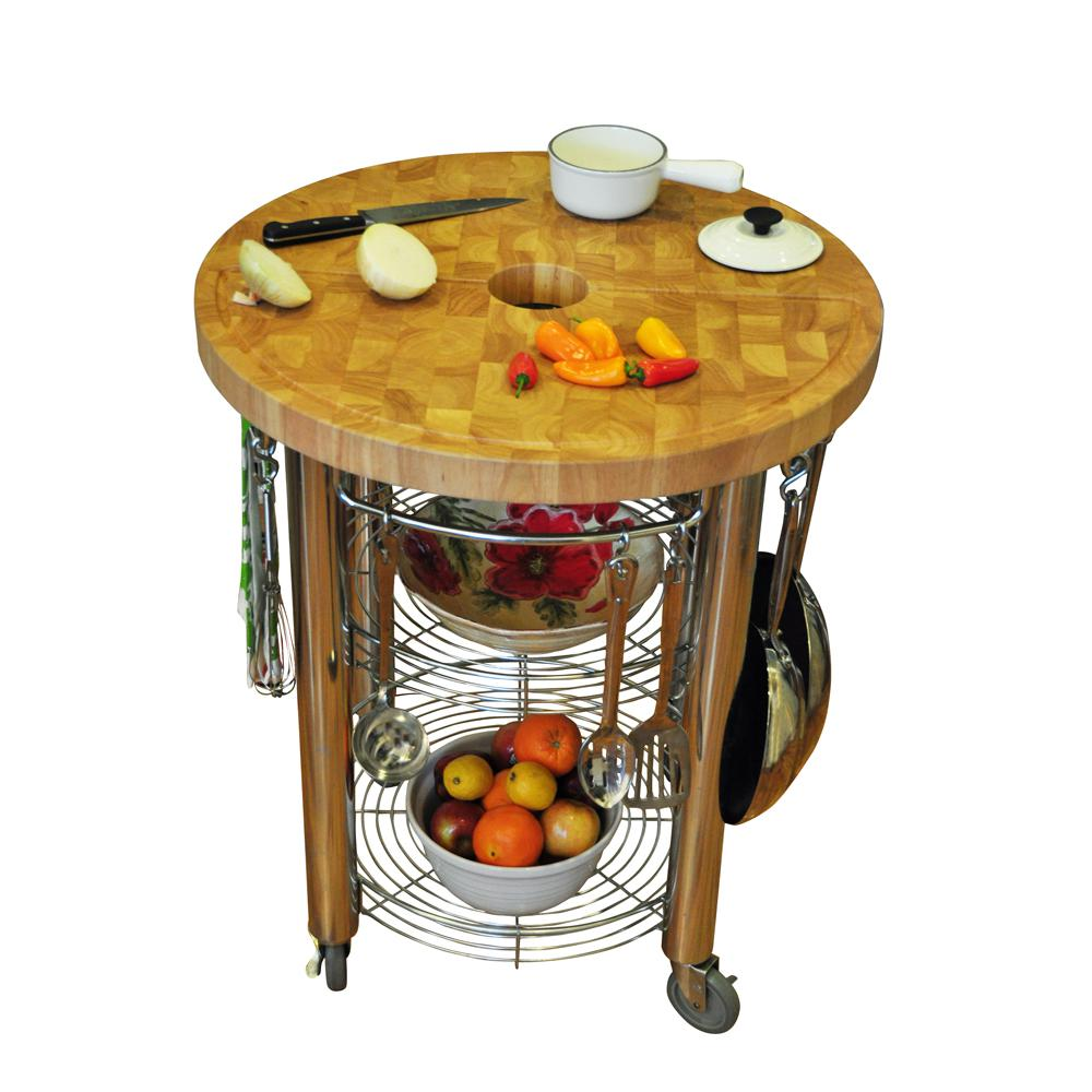 Chris Stadium Natural Kitchen Cart With Trash Ring