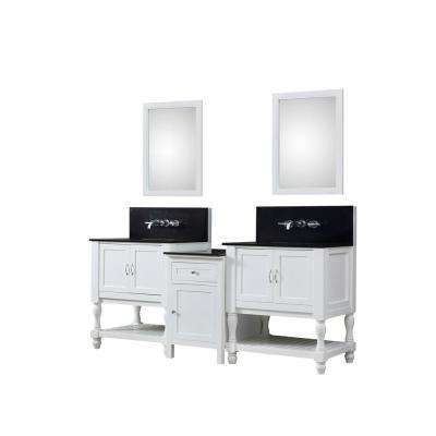 Turnleg Hybrid Premium Bath Makeup 83 in. W Vanity in White with Granite Vanity Top in Black with White Basin and Mirror