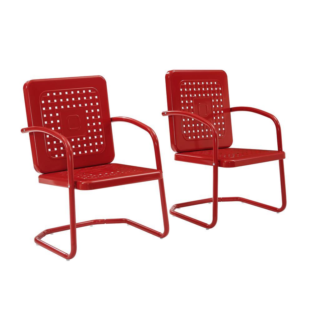 Crosley Bates Red Metal Outdoor Lounge Chair (2-Pack)