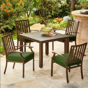 287f032041f Bridgeport 5-Piece Metal Stationary Outdoor Dining Set with Green Cushions