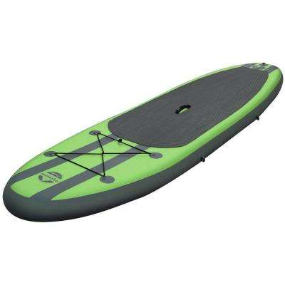 10 ft. Green PVC SUP Inflatable Backpack Paddle Board Sport with Adjustable Paddle