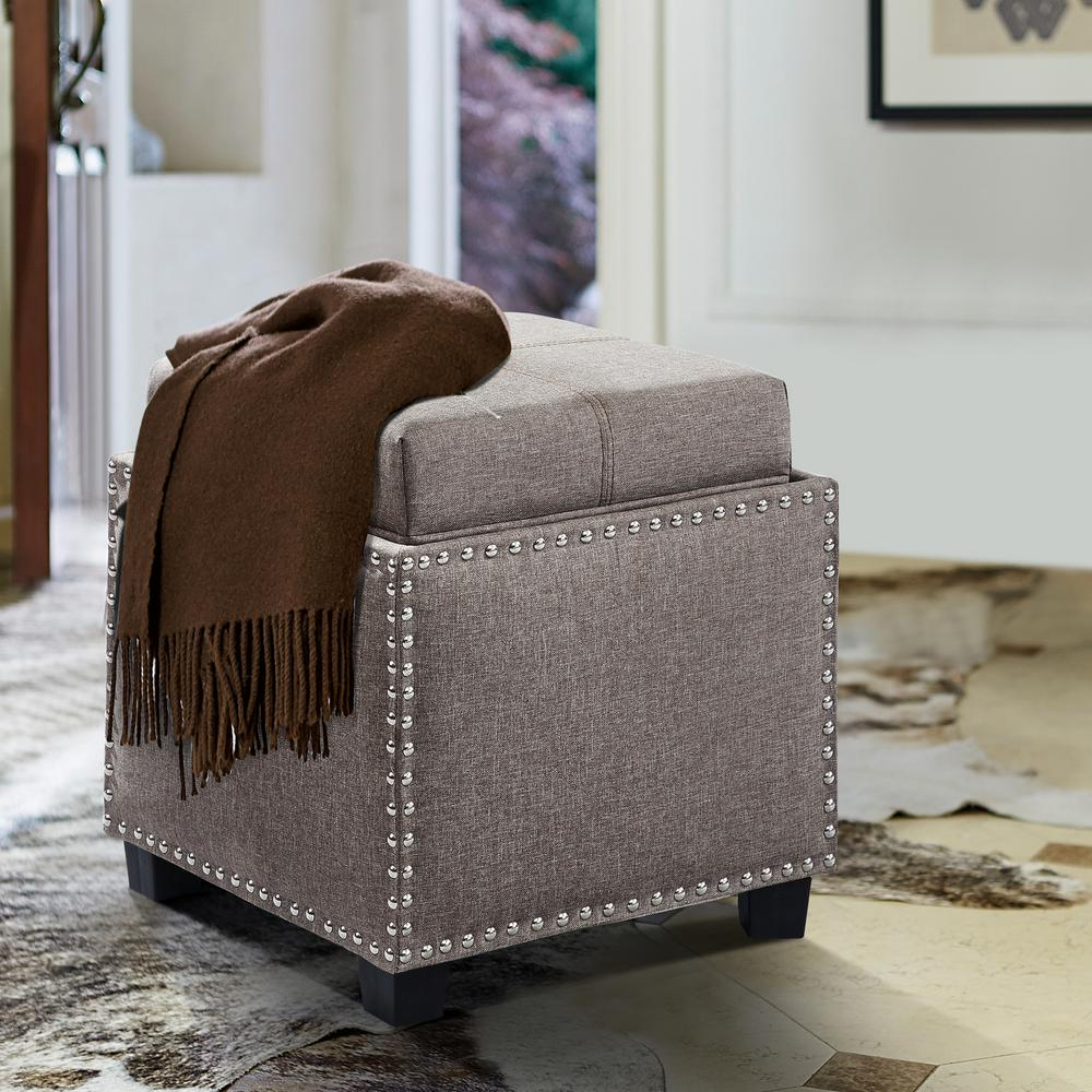 Blaze Brown Linen Contemporary Ottoman with Wood Legs