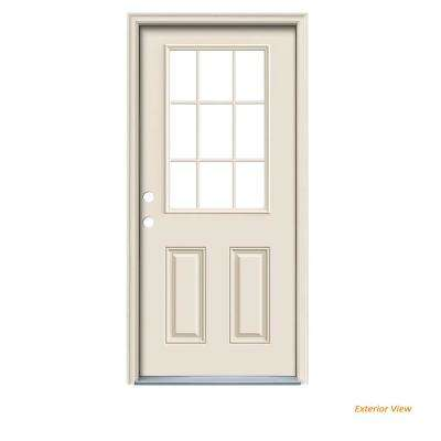 36 in. x 80 in. 9 Lite Primed Fiberglass Prehung Right-Hand Inswing Front Door w/Brickmould