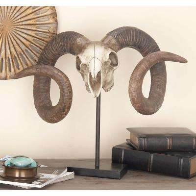 17 in. x 22 in. Decorative Ram Skull Sculpture in Distressed Polystone