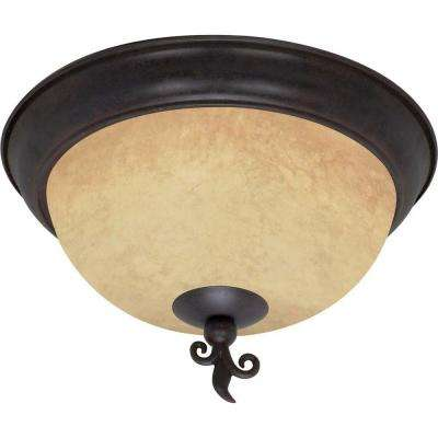 3-Light Old Bronze Flushmount with Tuscan Suede Glass