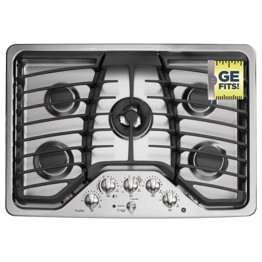 GE Profile 30 in. Deep Recessed Gas Cooktop in Stainless Steel with 5 Burners including Tri-Ring Burner