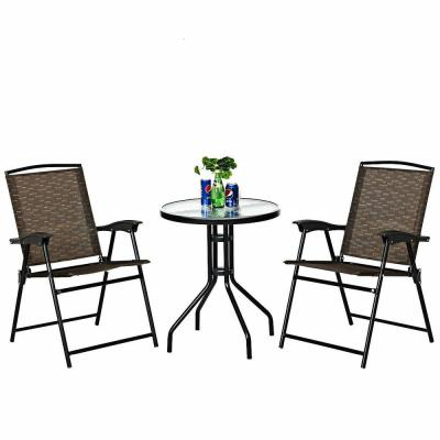 3-Piece Outdoor Bistro Set Patio Garden Furniture Set, 2-Folding Chairs, Glass Table Top Steel