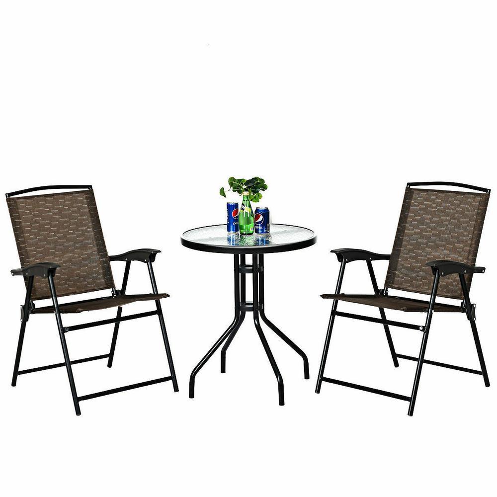3-Piece Outdoor Bistro Set Patio Garden Furniture Set, 2-Folding Chairs, Glass Table Top Steel