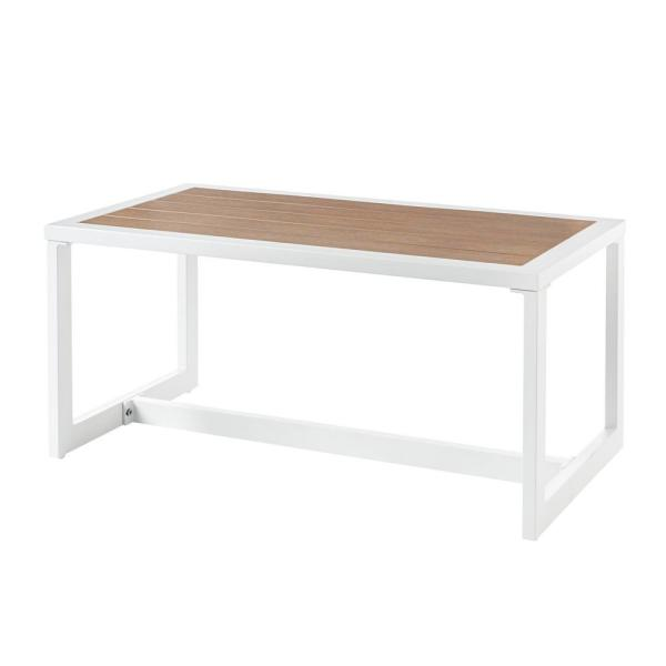 West Park White Aluminum Outdoor Patio Coffee Table