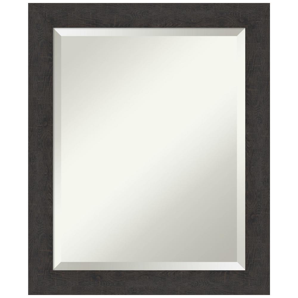 Medium Rectangle Distressed Brown/Tan Beveled Glass Modern Mirror (23.25 in. H x 19.25 in. W)
