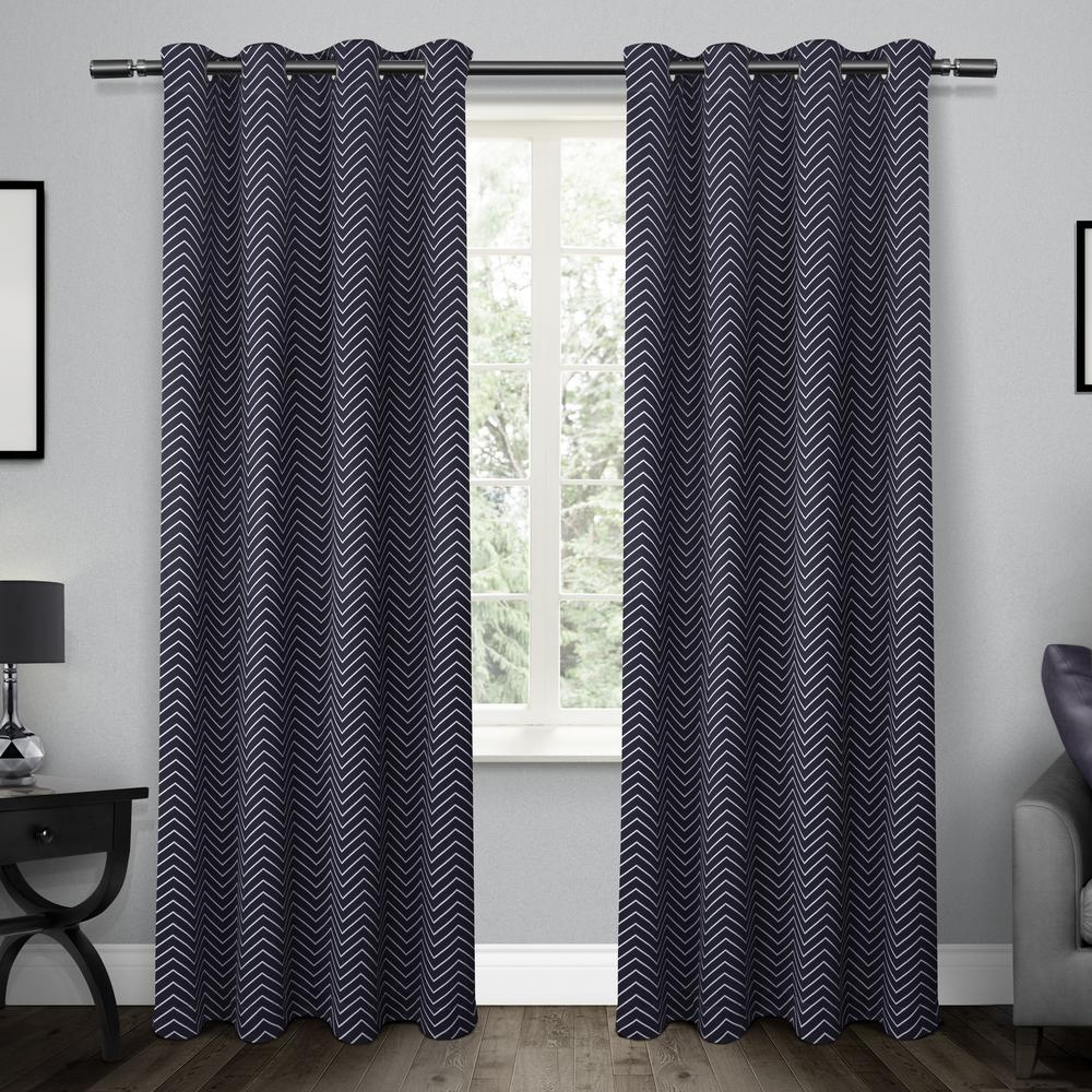 Chevron Peacoat Blue Thermal Blackout Grommet Top Window Curtain