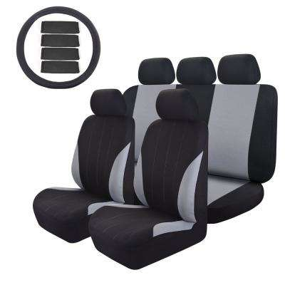 47 in. x 23 in. x 1 in 14pc Universal Full Set Car Seat Cover Premium Mesh Cloth Easy To Install For SUV Truck or Van