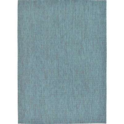 Outdoor Solid Teal 8' 0 x 11' 4 Area Rug