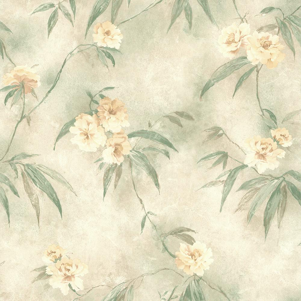Brewster 56 4 Sq Ft Segal Green Textured Floral Trail Wallpaper