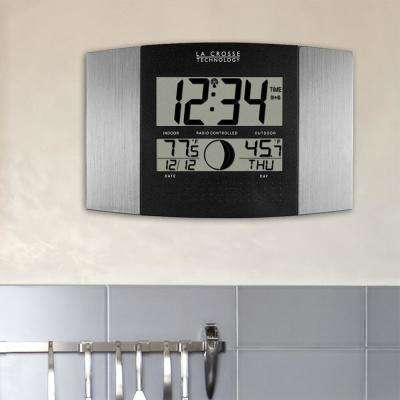 11-1/2 in. x 7-3/4 in. Digital Atomic Aluminum Wall Clock with Moon Phase and Temperature