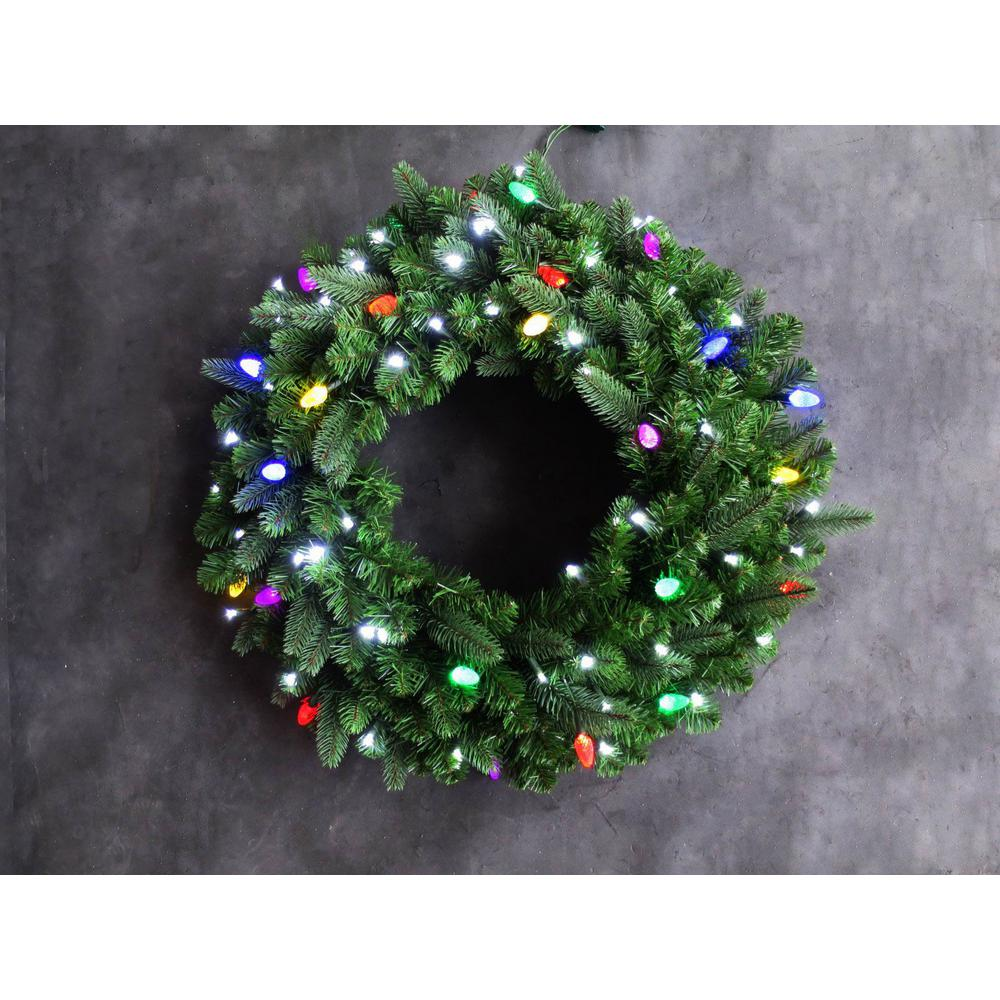 36 in. Royal Grand Spruce Wreath-Pure White/Multi