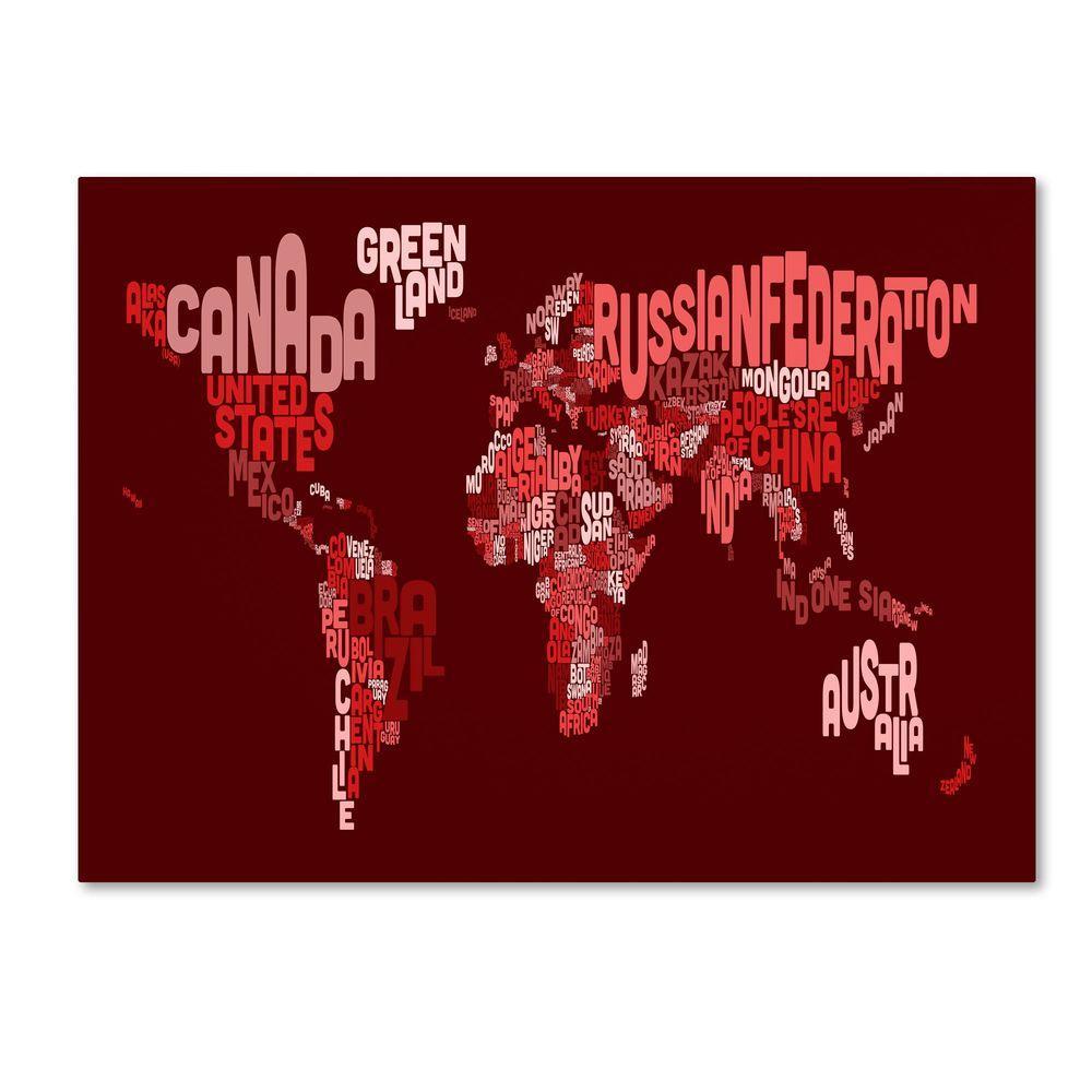 Trademark Fine Art 30 in. x 47 in. World Text Map 3 Canvas Art