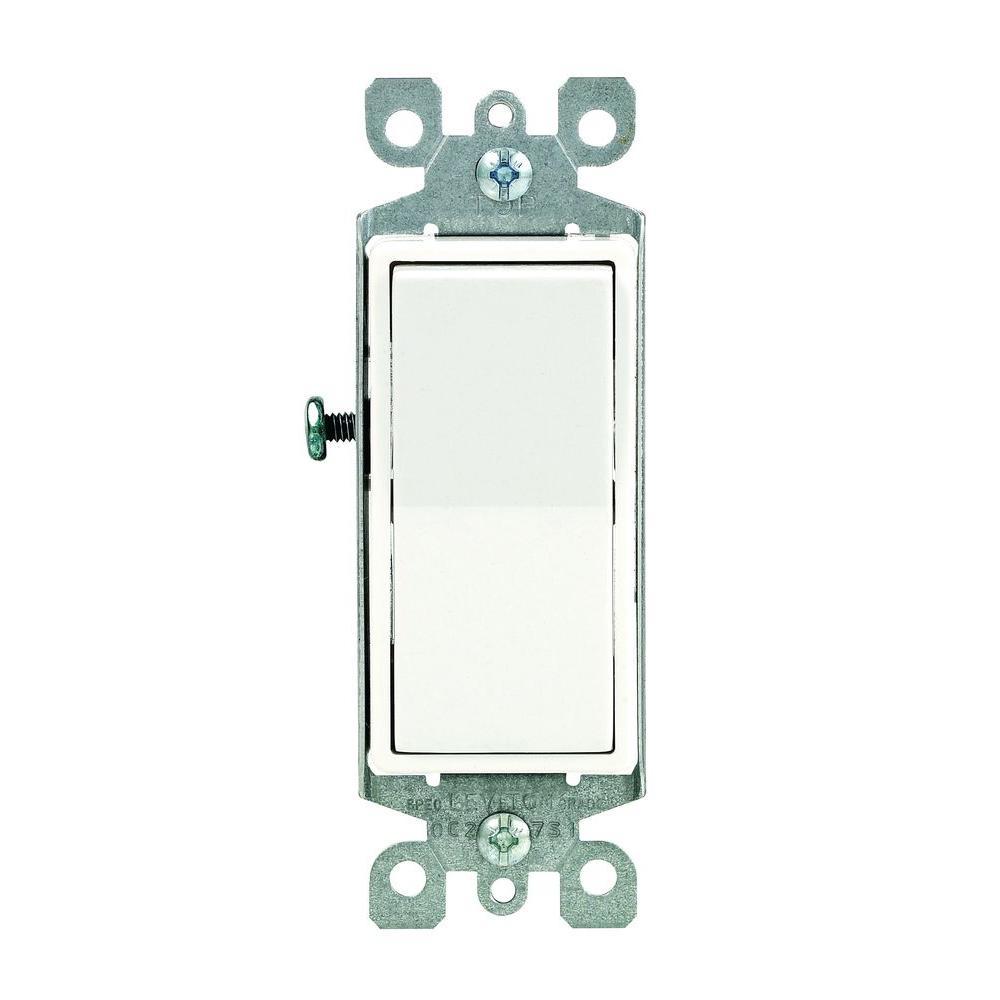 Leviton Decora 15 Amp Illuminated Switch, White-R72-05611-2WS - Oopes