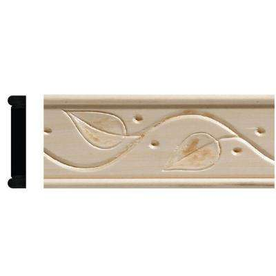 425 11/32 in. x 1-3/4 in. x 96 in. White Hardwood Embossed Ivy Chair Rail Moulding