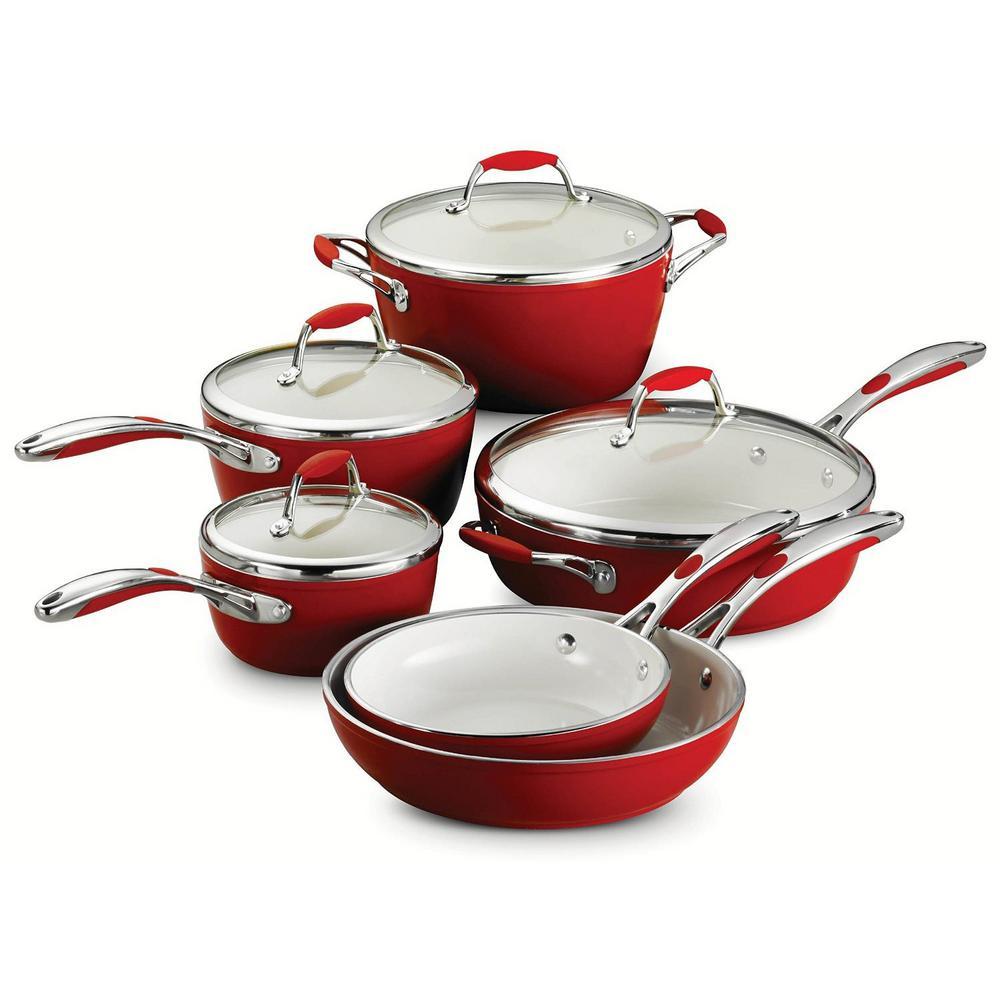 Tramontina Gourmet Ceramica Deluxe 10-Piece Metallic Red Cookware Set with Lids