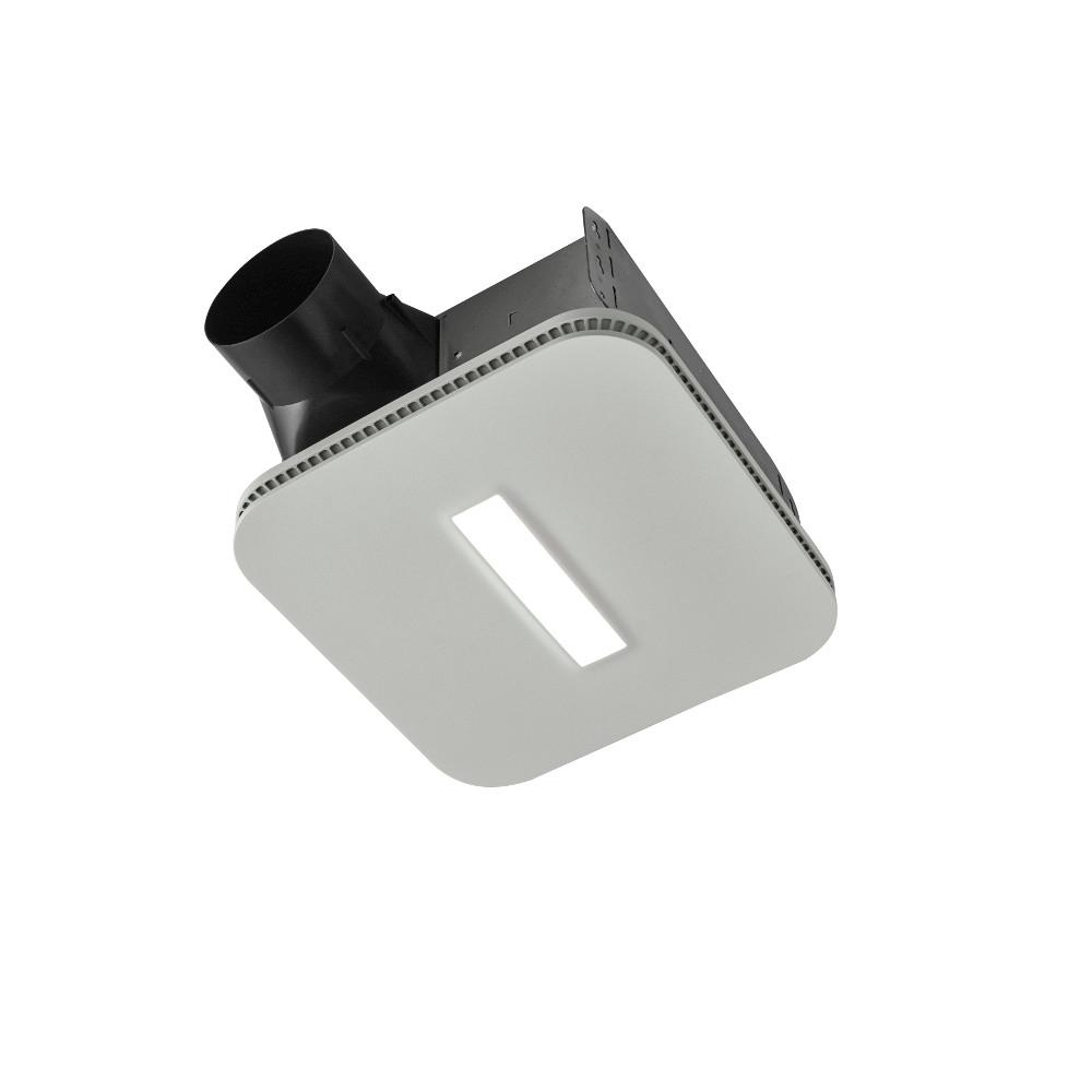 Roomside Series DC 110 CFM Ceiling Bathroom Exhaust Fan with LED Light CleanCover and Humidity Sensing, ENERGY STAR*