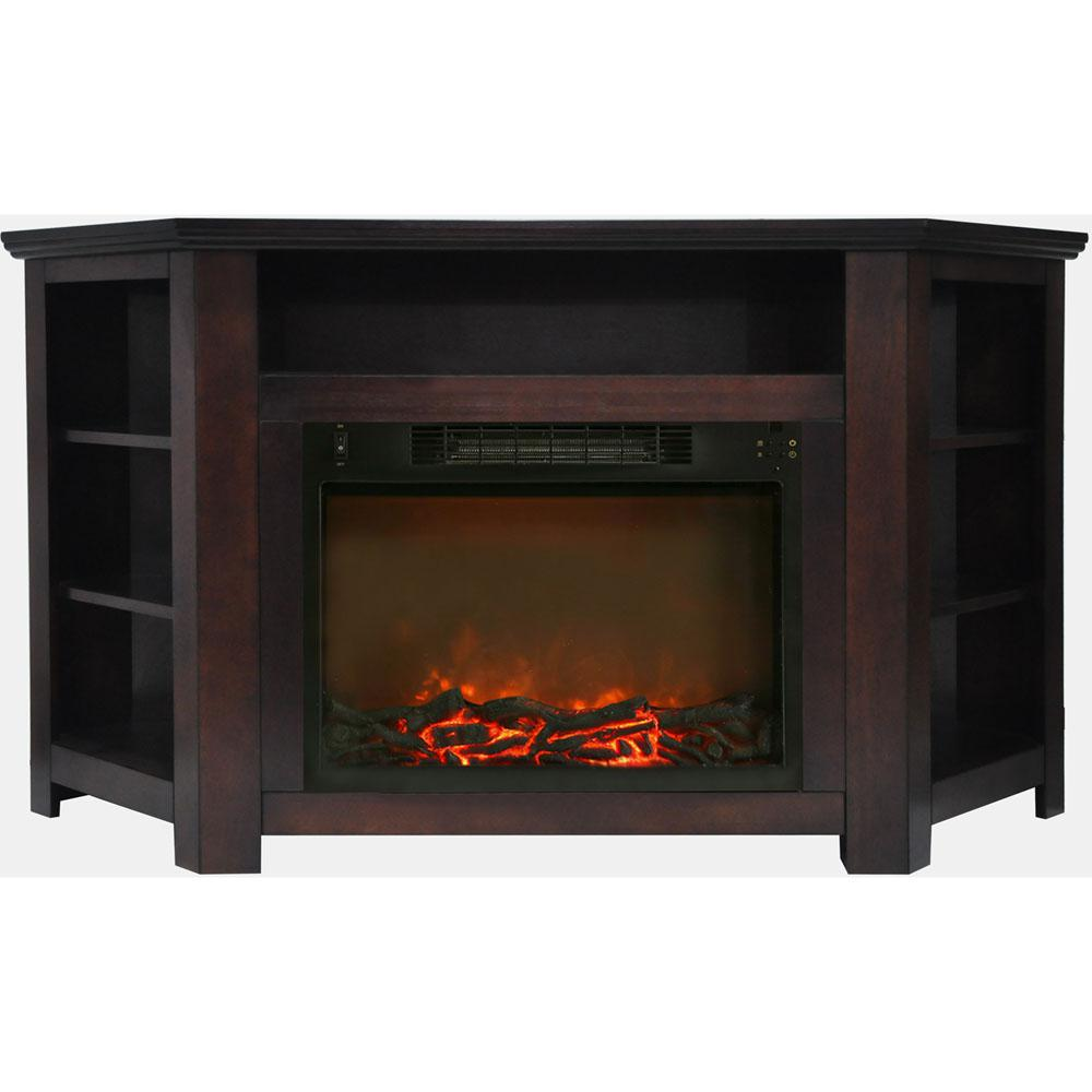 Hanover Tyler Park 56 In Electric Corner Fireplace In Mahogany With