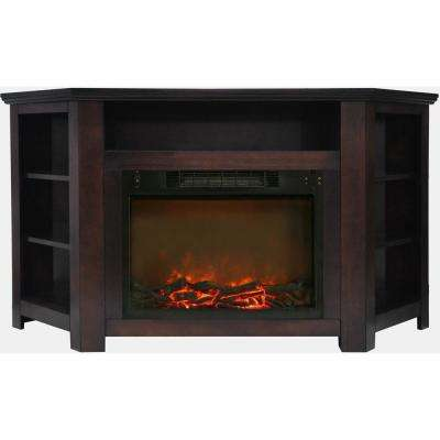 Tyler Park 56 in. Electric Corner Fireplace in Mahogany with 1500-Watt Fireplace Insert