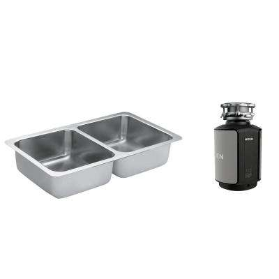 1800 Series Undermount Stainless Steel 32 in. Double Basin Kitchen Sink with GX Series 1/2 HP Garbage Disposal