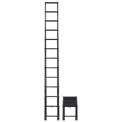 16 ft. Climbing Height 12.5 ft. Actual Black Tactical Extension Aluminum Ladder