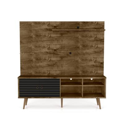 Liberty 71 in. Rustic Brown and Matte Black Entertainment Center Fits TVs Up to 55 in. with Wall Panel