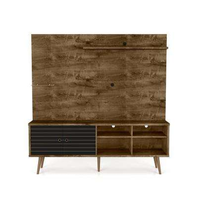 Liberty 70.87 in. Rustic Brown and Matte Black Freestanding Entertainment Center