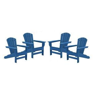 Boca Raton Royal Blue Recycled Plastic Curveback Adirondack Chair (4-Pack)