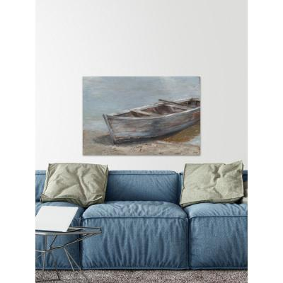 """40 in. H x 60 in. W """"Whitewashed Boat II"""" by Marmont Hill Canvas Wall Art"""