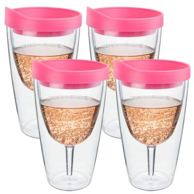 4-Piece Pink Double Wall Acrylic Insulated Wine Tumbler Set