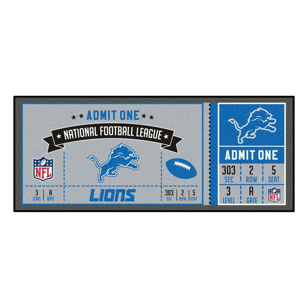 NFL - Detroit Lions 30 in. x 72 in. Indoor Ticket Runner Rug