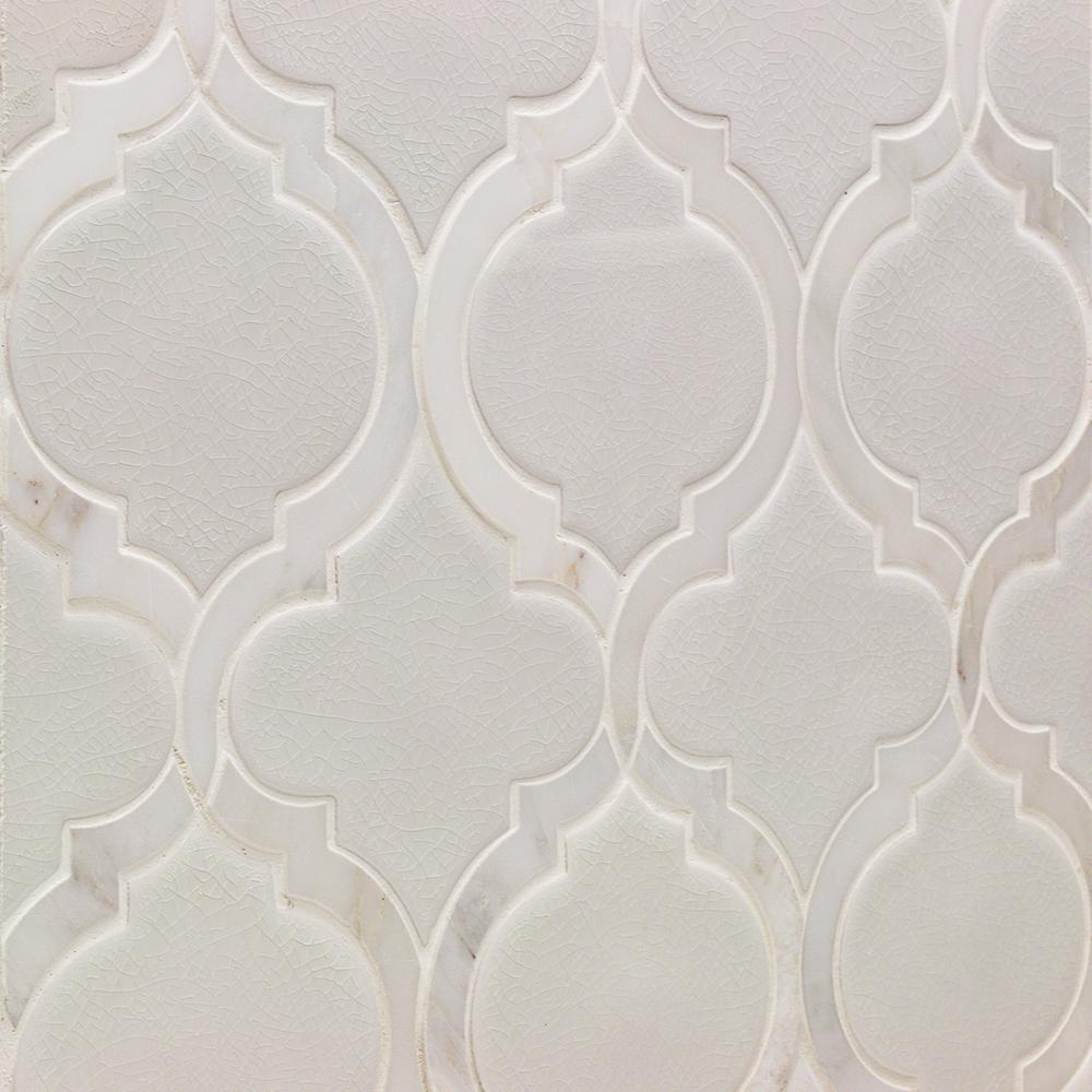 Oracle Arabesque Glacier White 9-7/8 in. x 11-3/4 in. x 10mm Glazed Ceramic Mosaic Tile