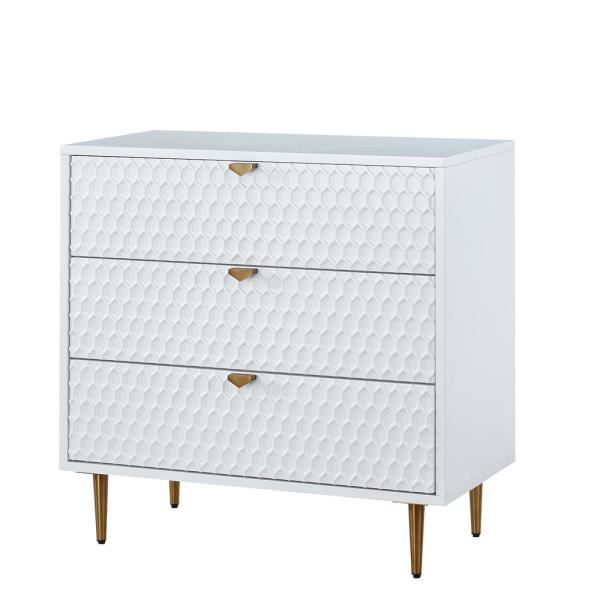 3-Drawer White MDF Fully-Assembled Accent Chest of Drawers with Golden Metal Stands 31.5 in. x 31.5 in. x 15.75 in.