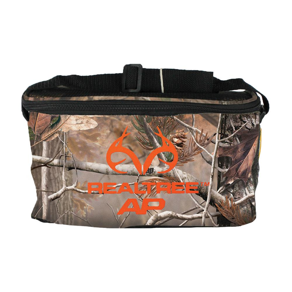 AES Optics AES Soft Side Cooler Realtree AP 6 can Soft-sided cooler with logo on the front. Holds 6-cans. Cooler has zip around top and a shoulder strap for easy carry.