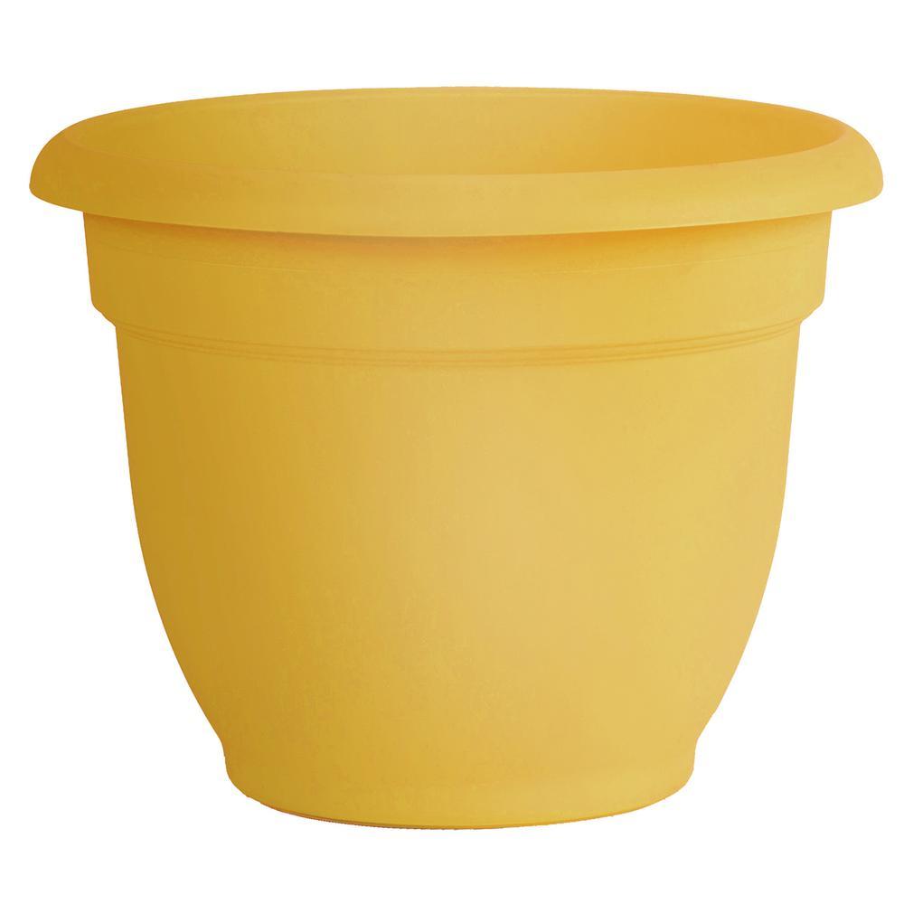 Ariana 10 in. x 8.5 in. Earthy Yellow Plastic Self Watering Planter