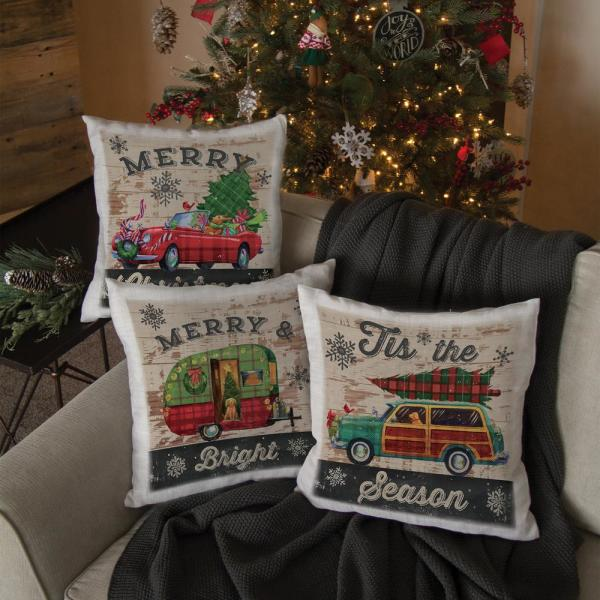 Pc3 Christmas Service 2020 Heritage Lace Christmas Plaid Car 18 in. x 18 in. Oyster Pillow