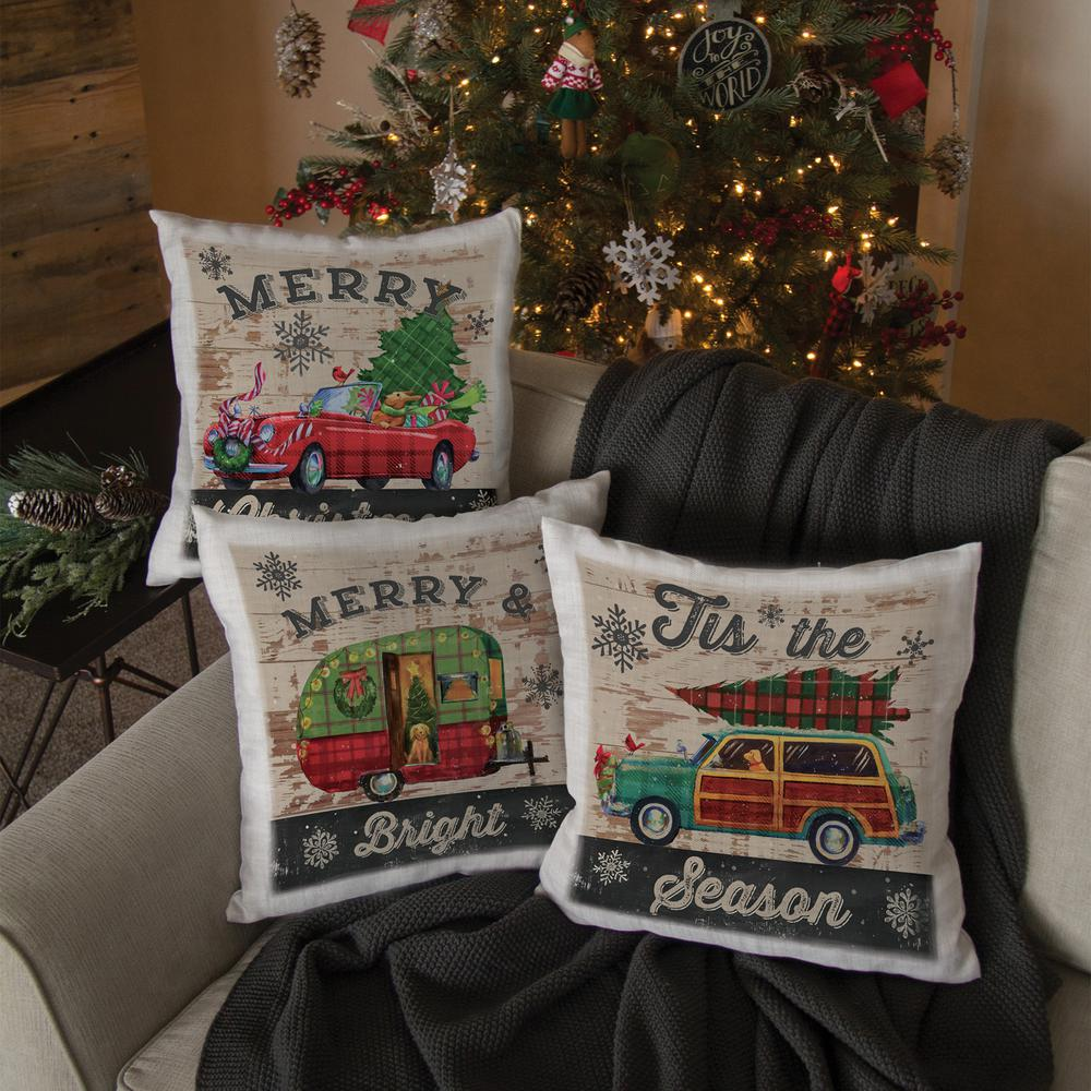 Heritage Lace Christmas Plaid Car 18 in. x 18 in. Oyster Pillow