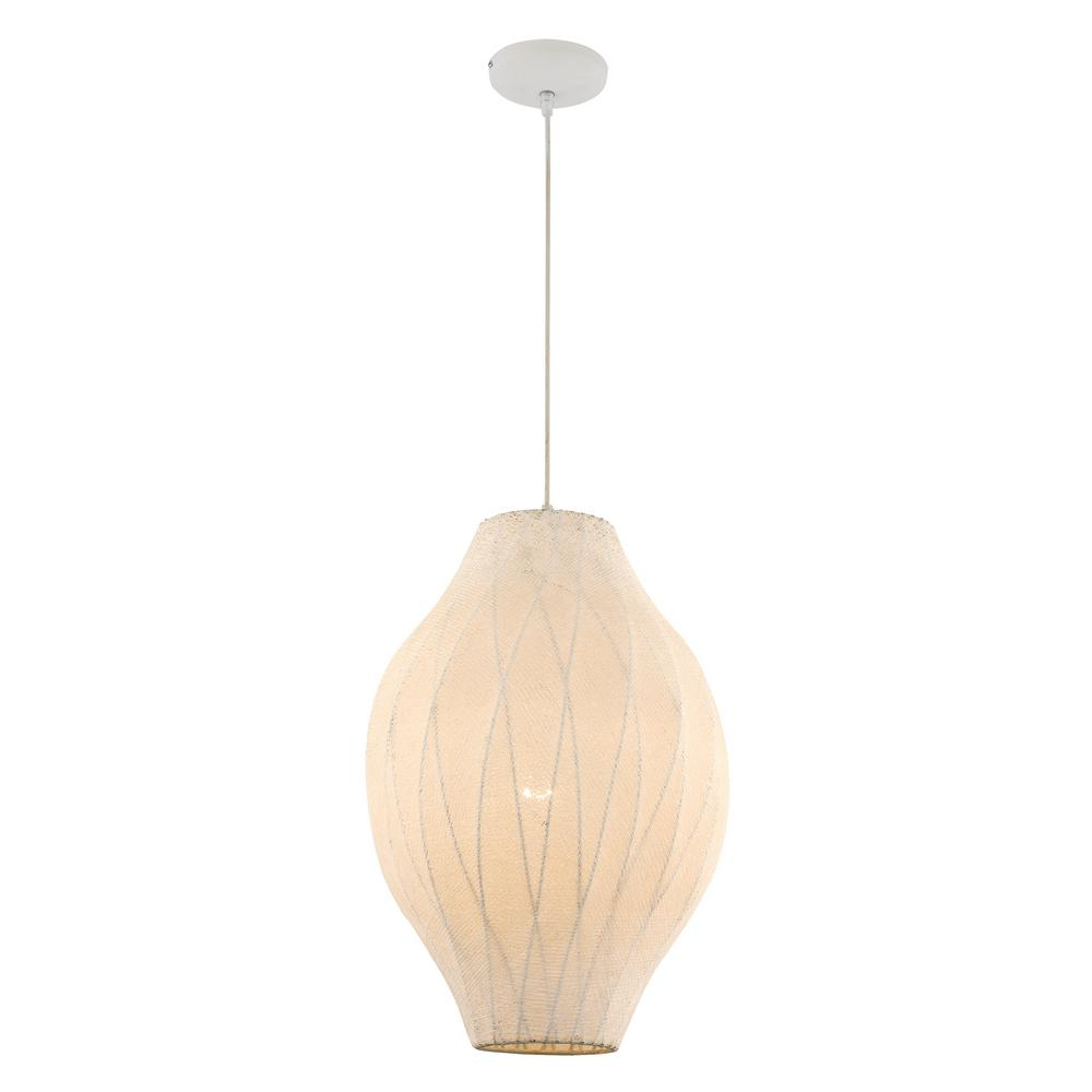 Lian 1-Light White Pendant with Cotton Mesh Shade