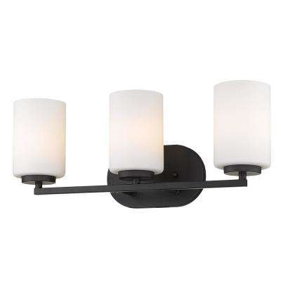Manhattan Matte Black 3-Light Bath Vanity