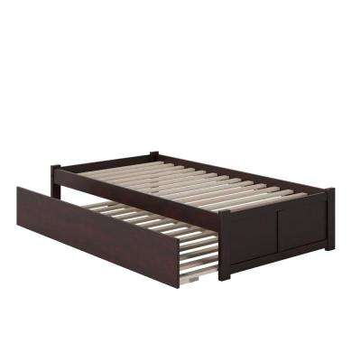 Concord Twin Platform Bed with Flat Panel Foot Board and Twin-Size Urban Trundle Bed in Espresso
